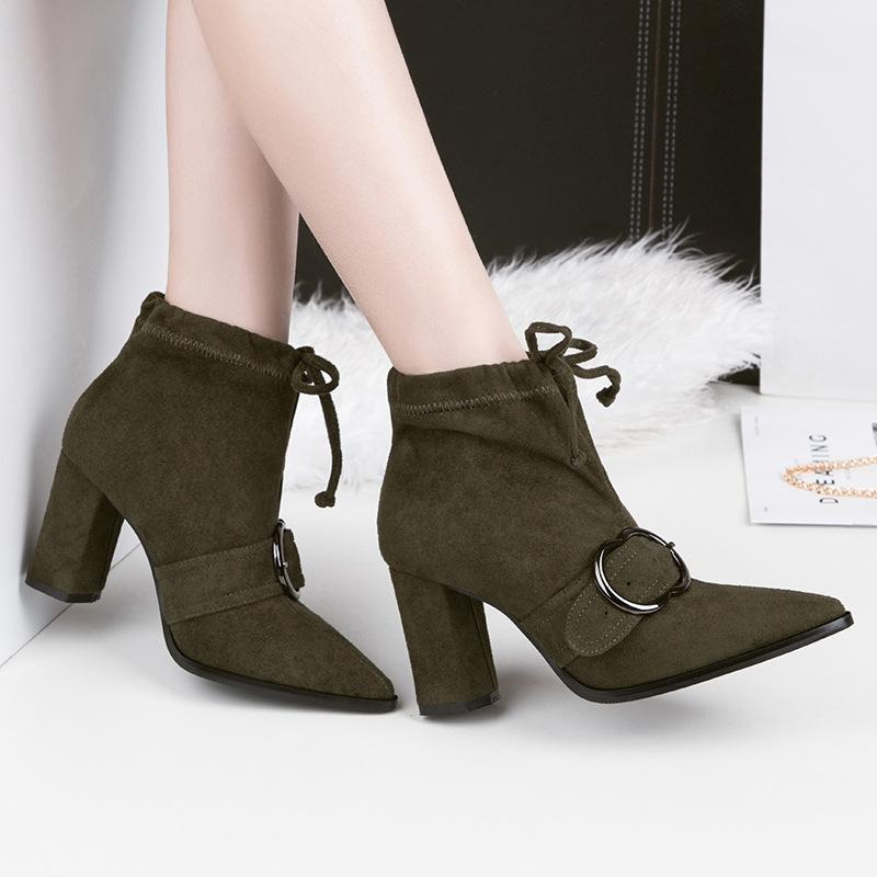 3ee15cc3982 Fashion Lady Short Boot Pumps Dress Shoes High Heels Suede Festival Party  Wedding Shoes Heels Formal Pumps Women Heels Ankle Boots GWS295 Fur Boots  Black ...