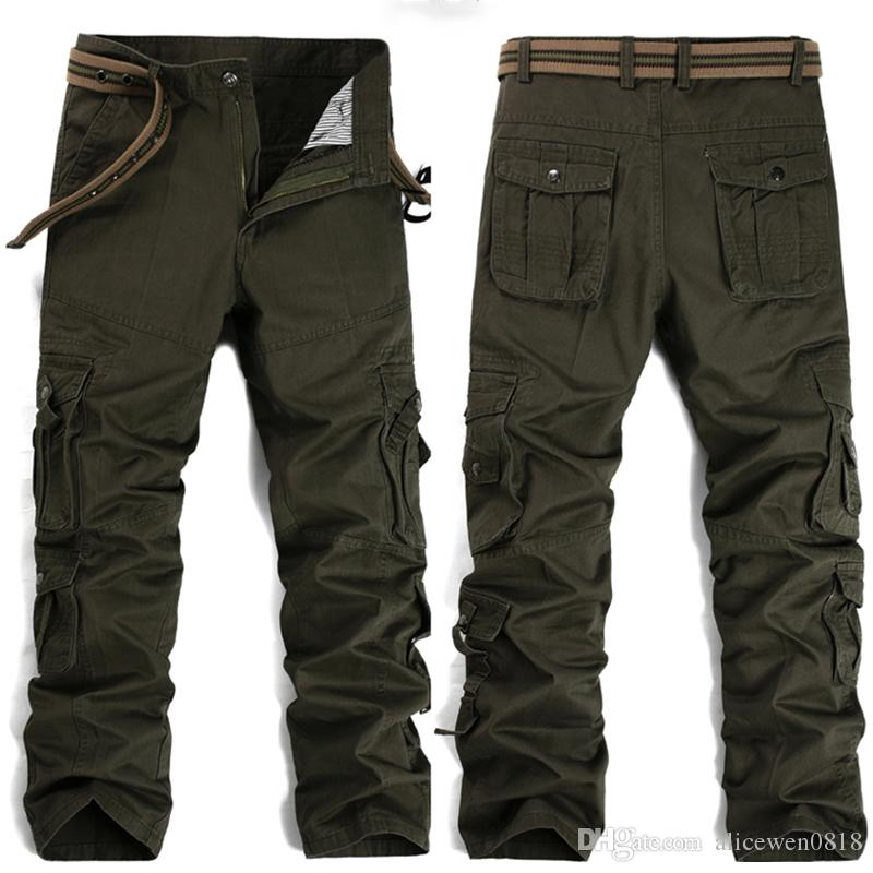Fashion Military Cargo Pants Men Loose Baggy Tactical Trousers Oustdoor Casual Cotton Cargo Pants Men Multi Pockets Big size