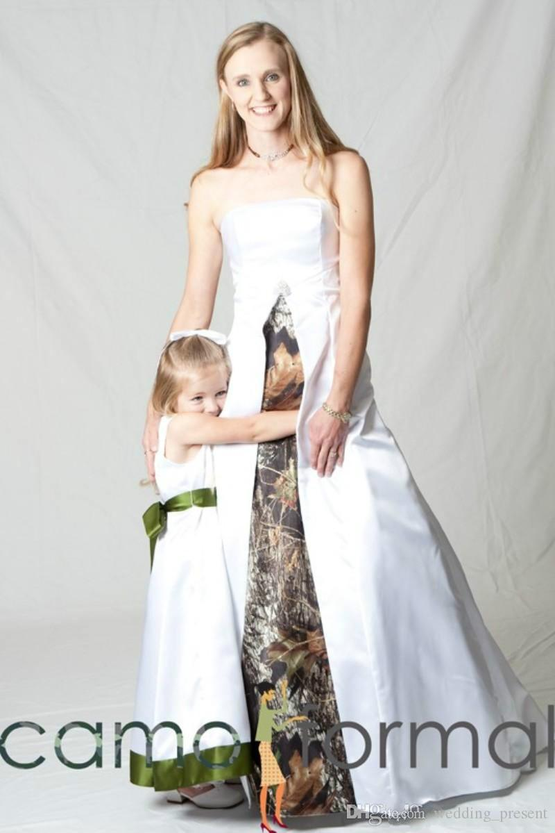 2015 White Camo Wedding Dresses A Line Strapless Sweep Train Wedding Gowns Realtree Camouflage Bridal Gowns Modest with Camo Veil