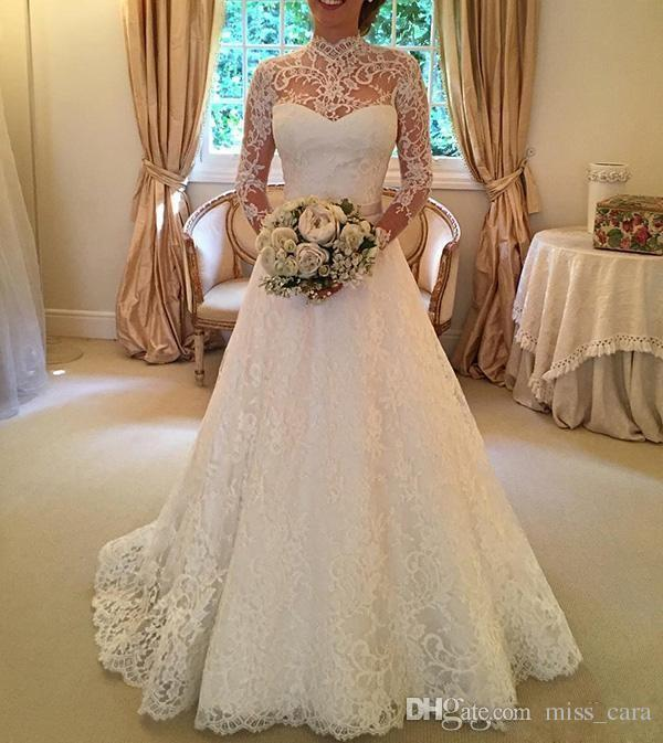Vintage White Lace Wedding Dresses A Line Applique Beads Tulle Cheap Wedding Dress High Collar Poet Long Sleeve Backless Bridal Gowns