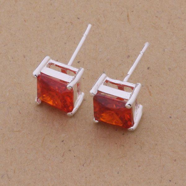 Мода производитель ювелирных изделий 20 шт. много красный кристалл серьги стерлингового серебра 925 ювелирные изделия завод мода блеск серьги