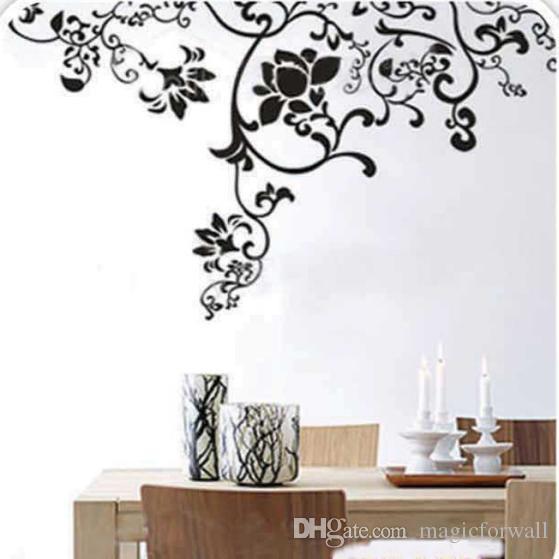 Большой размер черные цветы ротанга бабочка стены искусства настенной росписи декор гостиной мода творческий обои наклейка плакат 100 х 160 см
