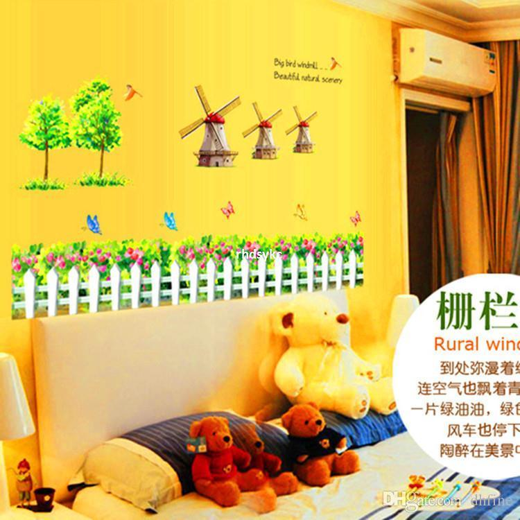 Bedroom Decoration Wholesale Cartoon Windmill Fence Wall Stickers ...