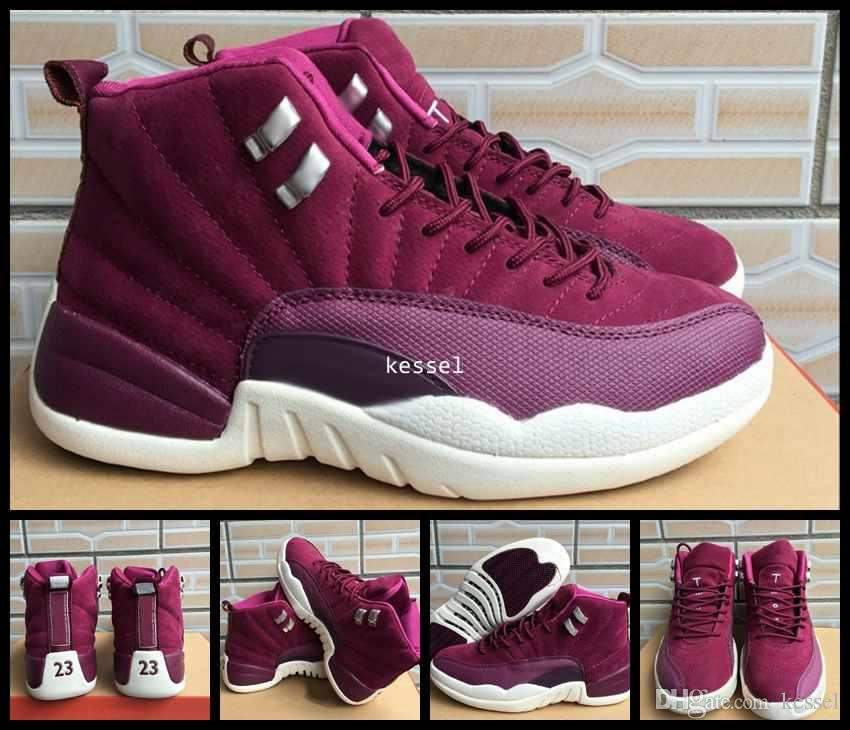 outlet store sale b430b 4e4be High Quality 12 Bordeaux Men Basketball Shoes,Mens 12s Wine Red Purple  White Sports Trainers Sneakers Basket ball Shoe Size US 7-11