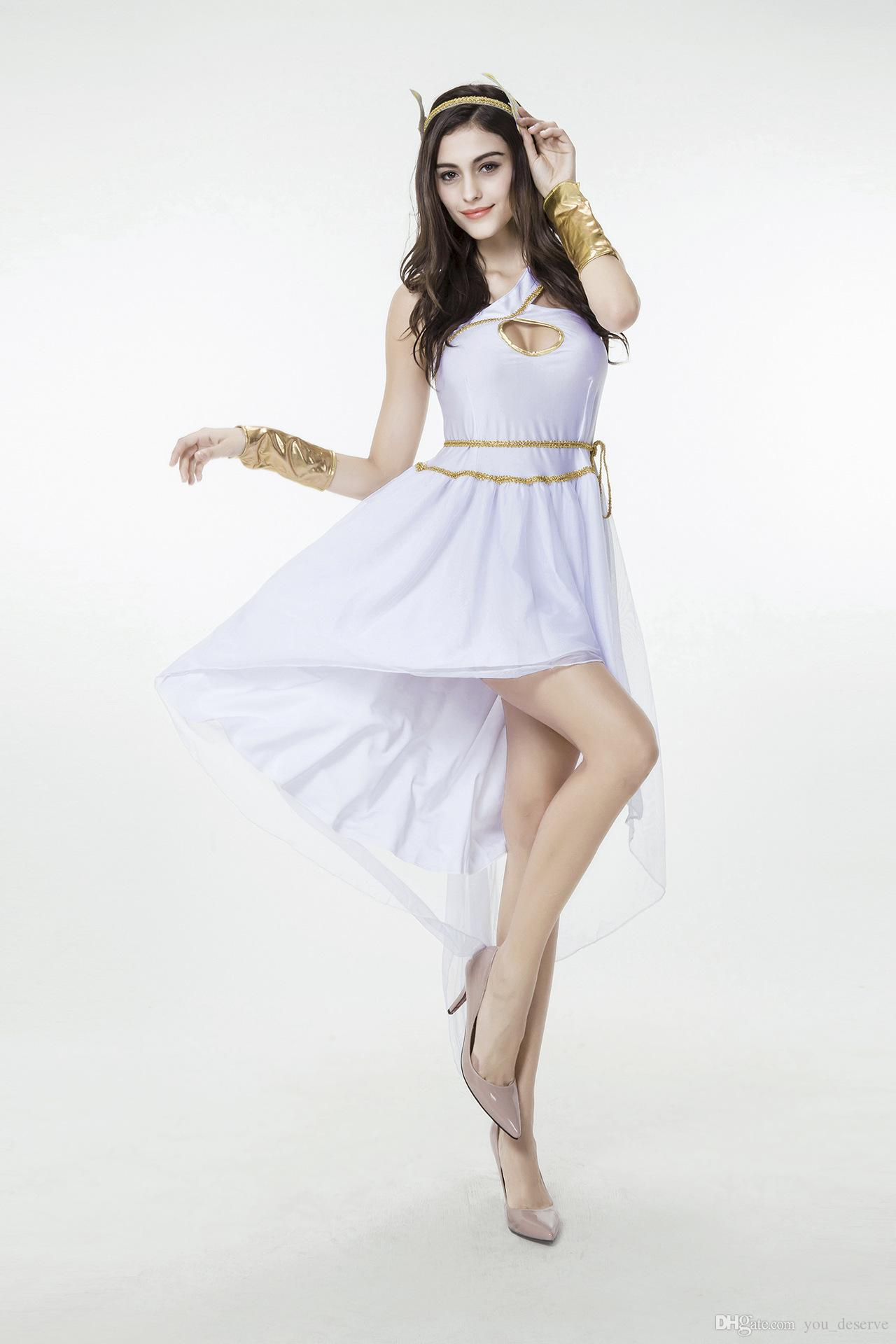2020 New Arrival Adult Women Greek Goddess Dress White Sexy Cosplay Halloween Costumes Stage Performance Clothing Hot Selling