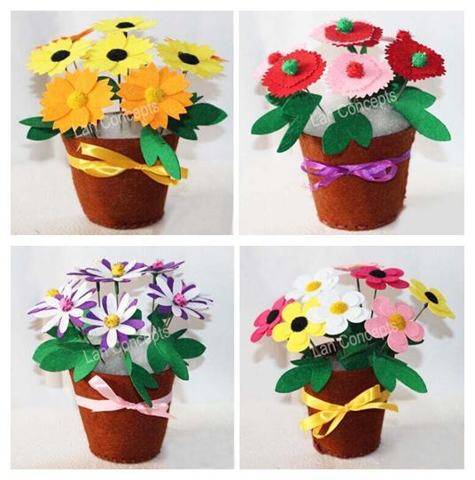 Children gift diy craft kit felt flower with non woven for Craft kits for kids in bulk