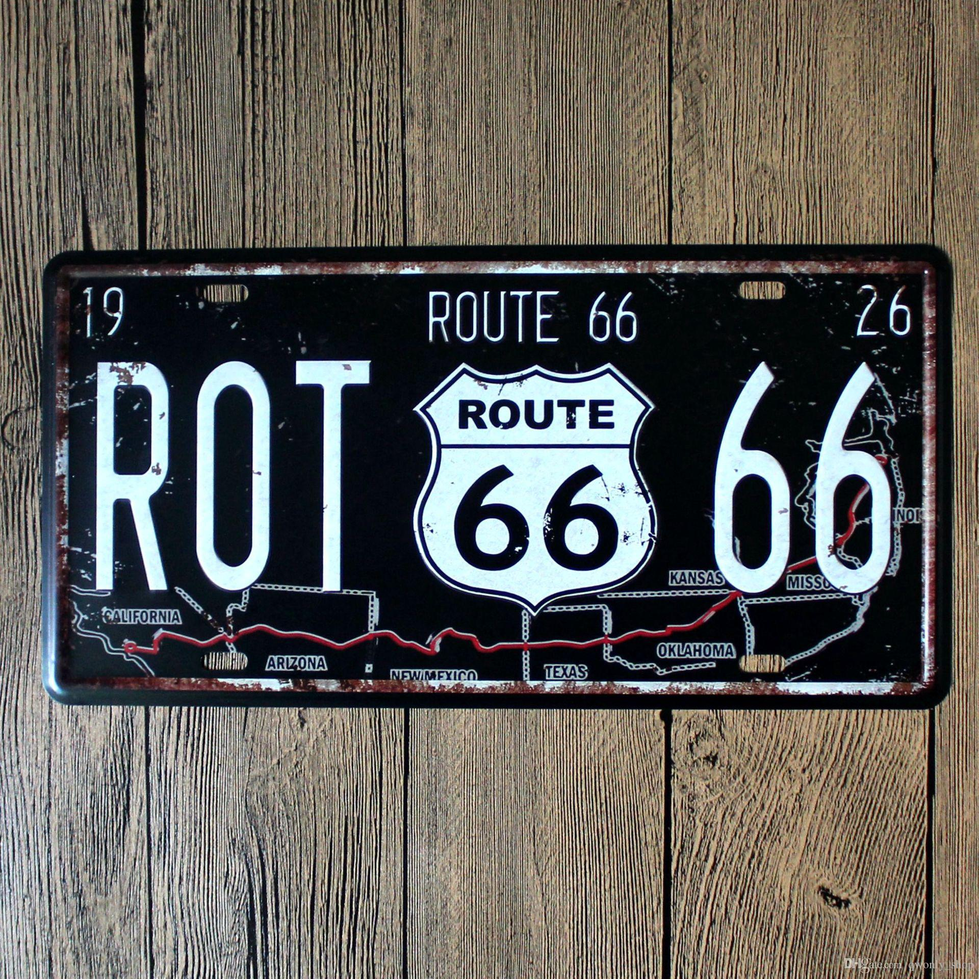 Vintage famous usa route 66 mother road plate vintage for Sign decoration
