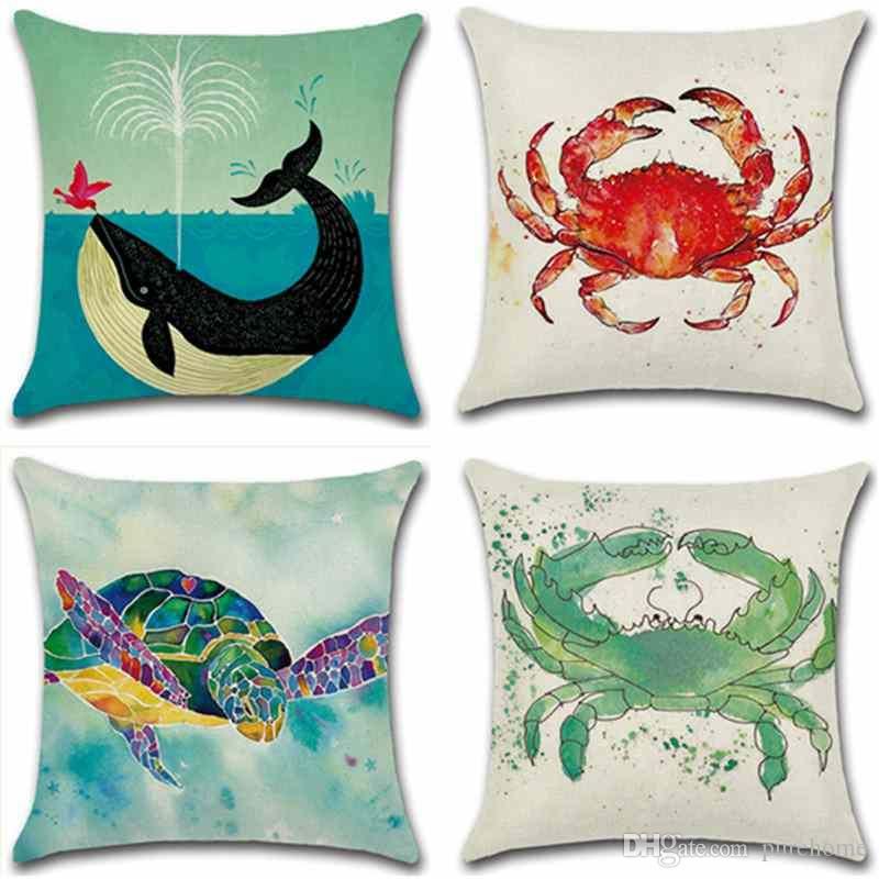 Marine Organism Crab Turtle Whale Linen Pillow Case Sofa Cushion Cover 45*45CM Home Cafe Office Decor Gift for Housewarming Party