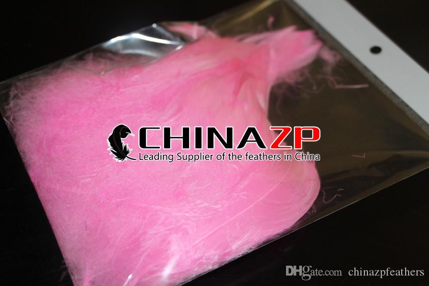 Gold Plumage Supplier CHINAZP Crafts Factory 8~15cm3~6inch Top Quality Dyed Pink Goose Coquille Loose Feathers