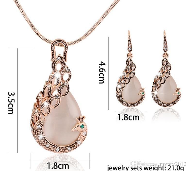 Wedding Jewelry sets New Fashion rose Gold Filled opal Crystal Peacock Necklace Earring Set for women DB