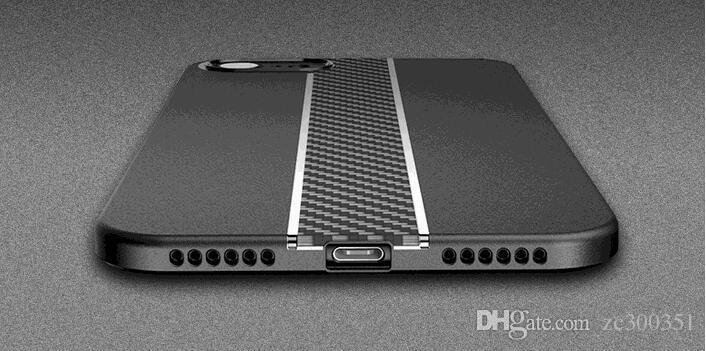 Für iPhone X Phone Cases Luxus-Streifen galvanisch Kohlefaser weichen TPU + PC Cover zurück Fall