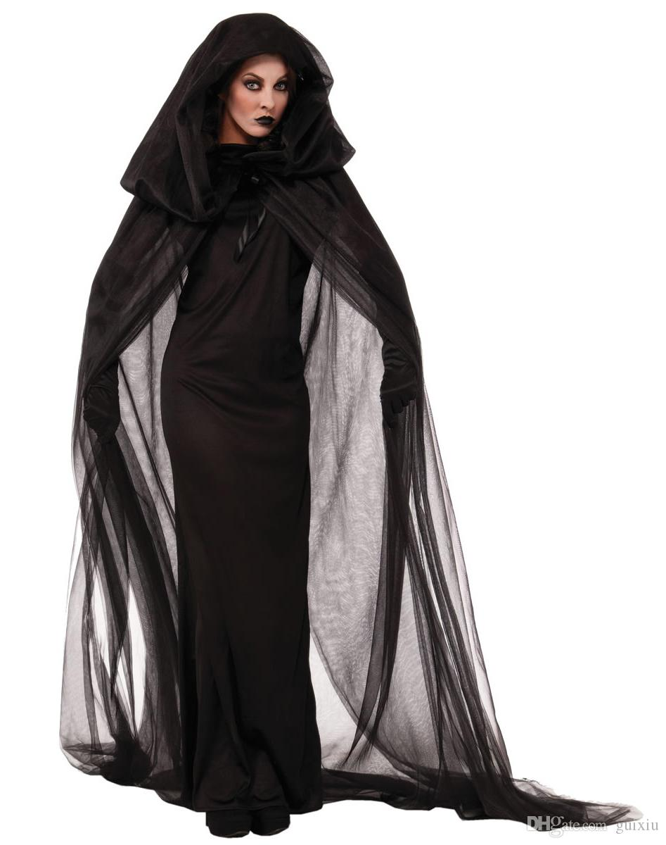 2017 Black Haunted Cape Ghost Dark Witch Halloween Costume For ...