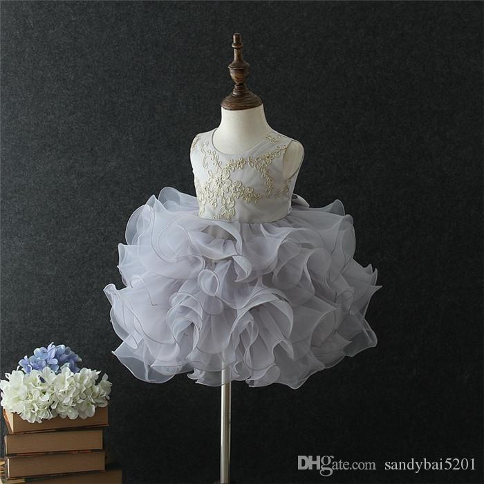 Party Dress Kids Girls Floral Embroidery Tulle Dresses 1-6T Infant Princess Baby Girl Tutu Dress Costume 2018 Toddler Children Clothing D254