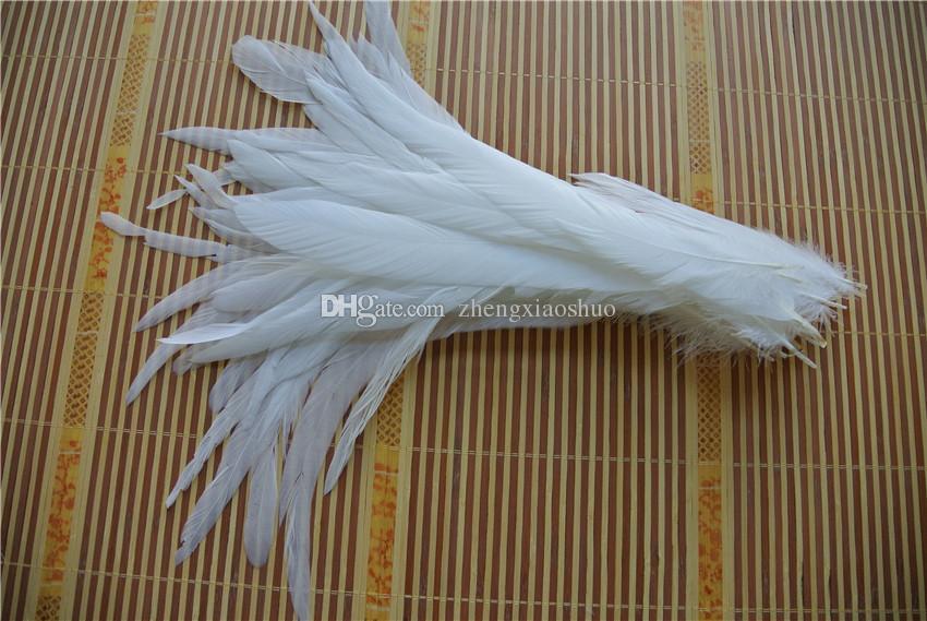 Gratis frakt Partihandel 100st / Parti 12-14inch Perfekt Ren Vit Köksvans Rooster Tail Feather for Dostumes