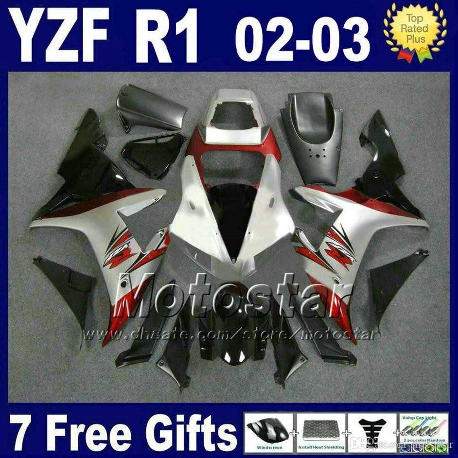 Corps argent rouge pour kit carénage YAMAHA 2002 2003 YZF R1 Kit kit moulé par injection 02 03 Kits carénage ABS carrosserie 27RD