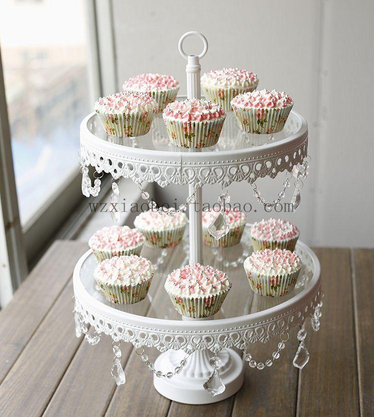 Double Layer Glass Wrought Iron Cake Stand Cake Pan Pallet