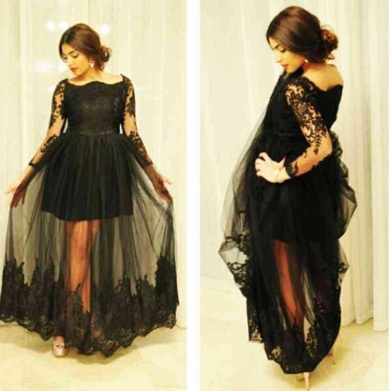 Plus Size Prom Dress With Sleeves Bateau Illusion Beads See Though Beads Long Sleeve Evening Dress Floor Length Mother Of The Bride Dress
