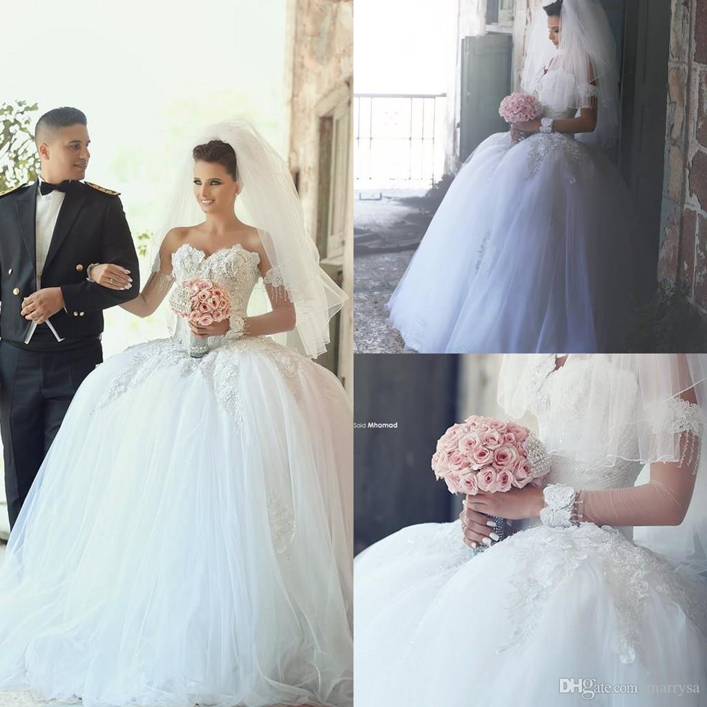 Winter Wedding Dresses Ball Gowns Sweetheart Neck Flower Lace Appliques South Africa Princess Long Bridal Custom Made Vestido De Noiva Gold