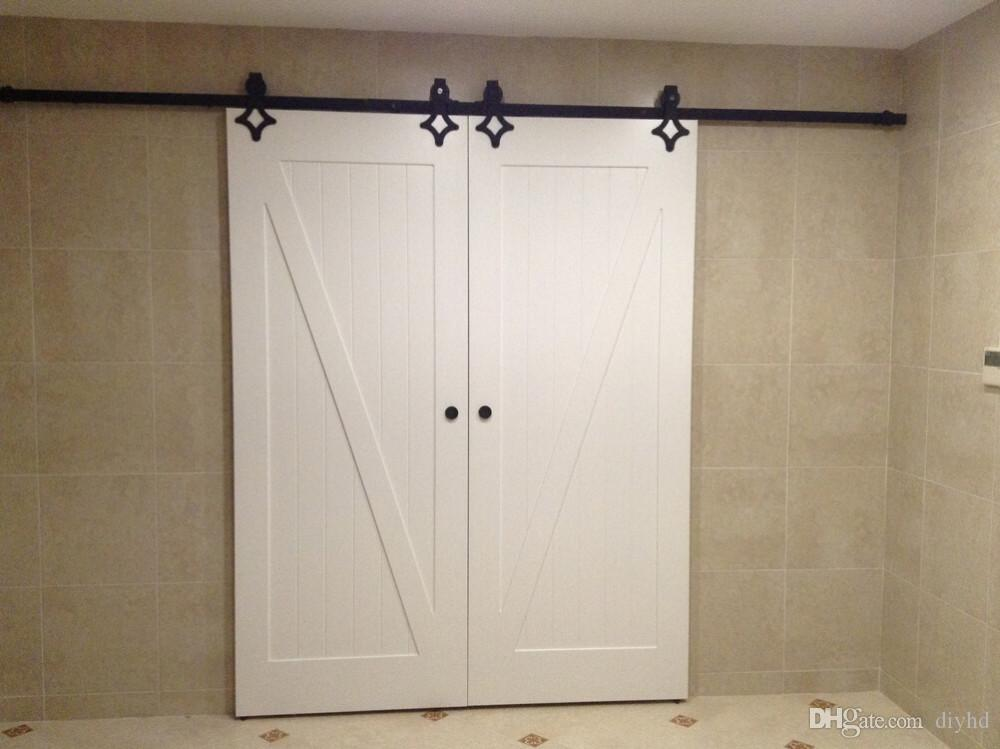 Double Sliding Doors : Heavy duty double sliding barn door modern wooden