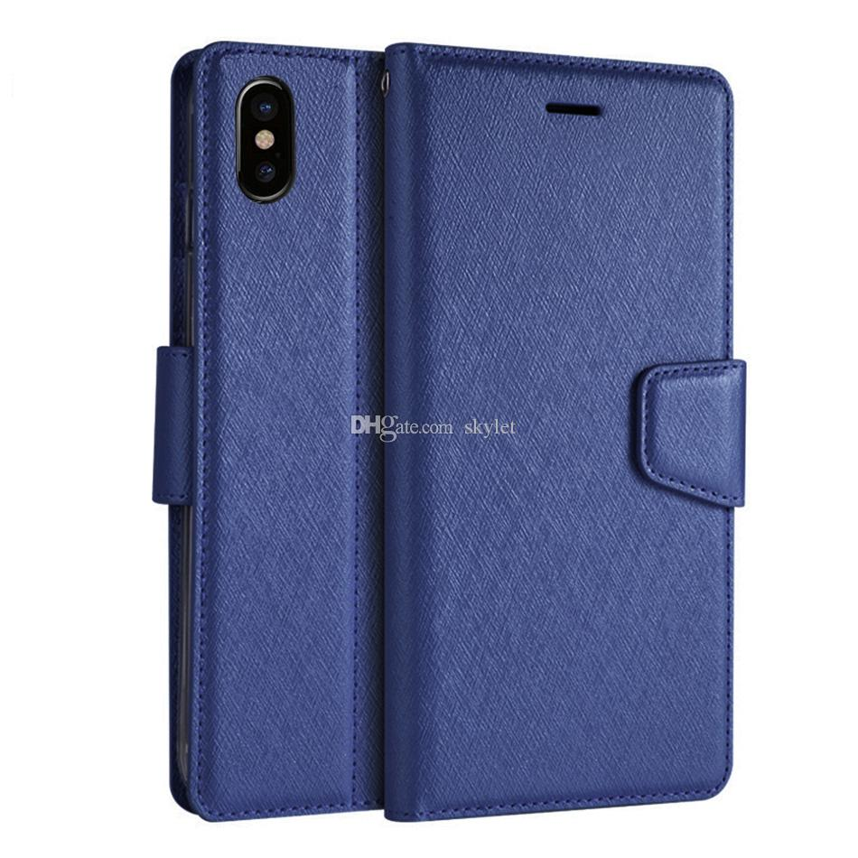 For iPhone XS Max Wallet Case Flip Cover Stand Holder Cover Cases for iPhone XR Samsung Note 9 S9 A8 2018 Protector Case with Retail Box