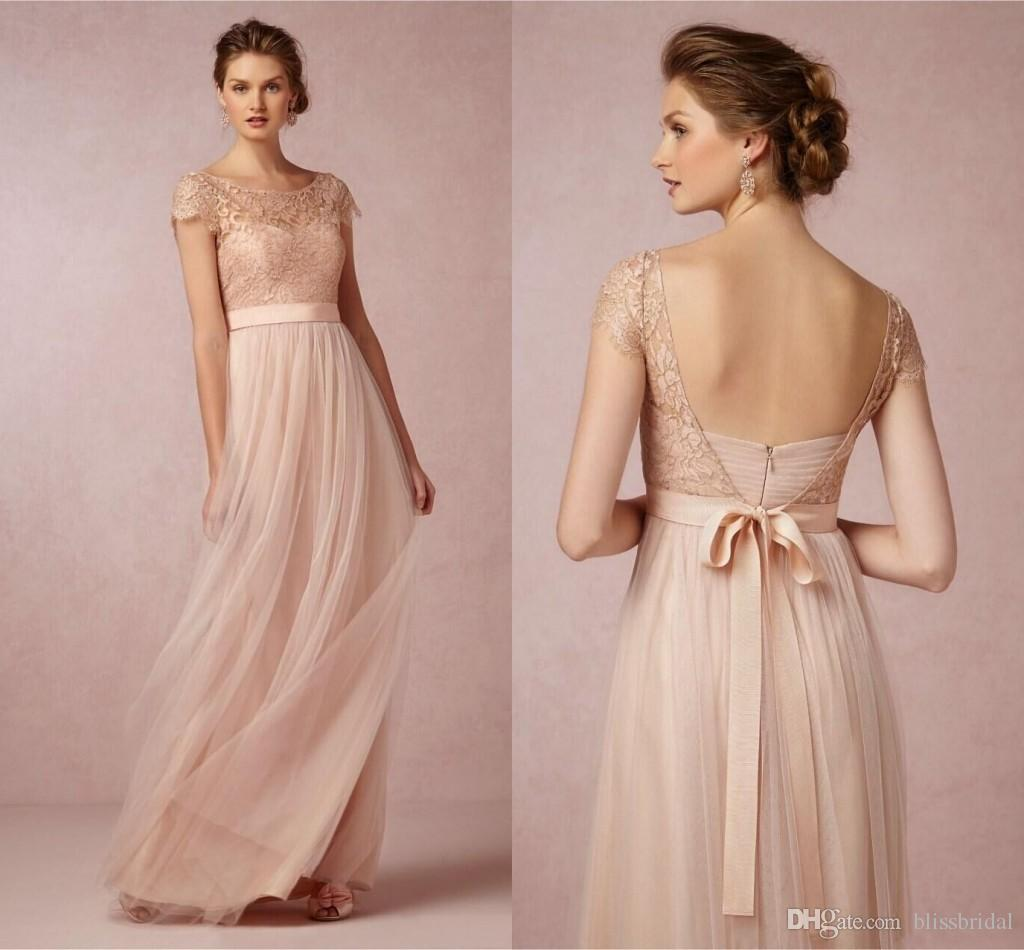 Light Coral Bridesmaid Dresses Tulle Long Floor Length Lace Open ...