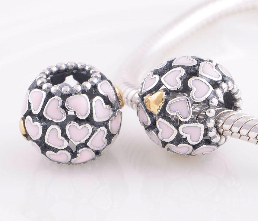 Cuore in argento sterling 925 con cuore in oro 14k Charm in oro con cuore decorato bracciale Pandora europeo