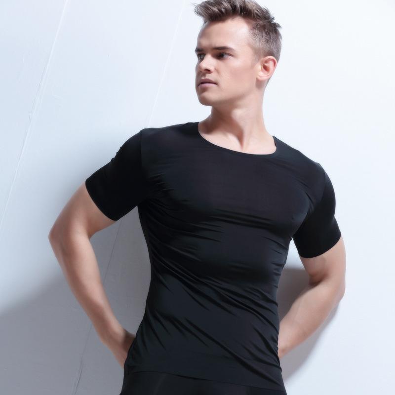 Homme Sexy Sheer Undershirt Hommes Ice Silk Minceur Transparent T Shirts Homme En Nylon Mesh Col V Mince À Manches Courtes Tops Gay Sous-Vêtements
