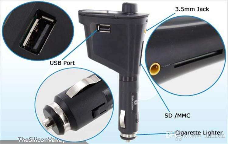 Kit de coche de es Reproductor de MP3 Transmisor FM inalámbrico para coche Transmisor de radio con USB SD MMC + Control remoto DHL gratis