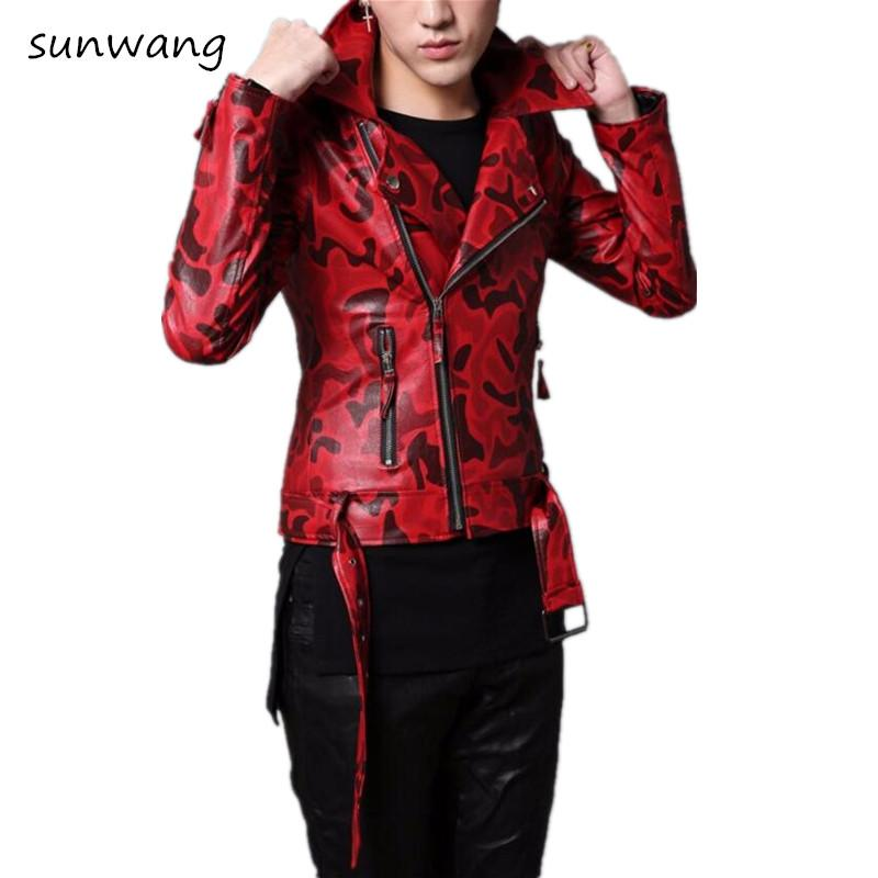 7dabc2254 2019 Wholesale 2017 Harajuku Korean Fashion Motorcycle Red Faux Leather  Jacket Men Vintage Slim Fit Coat Camouflage Mens Winter Leather Jackets  From ...