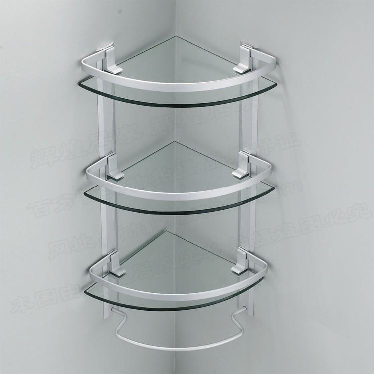 aluminum 3 tier glass shelf shower holder bathroom accessories corner shelves for storage wall mount - Bathroom Accessories Glass Shelf