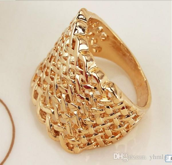Valentine's Gift For Women/Men 18k Gold Plated Rhombus Ring Jewelry Charm Jewelry Size 8.5