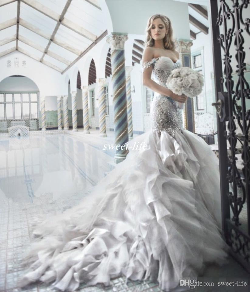 Pnina Tornai 2016 Rhinestone Mermaid Wedding Dresses with Sweetheart Off Shouler Backless Crystal Tulle Luxury Chapel Train Bridal Gowns Hot