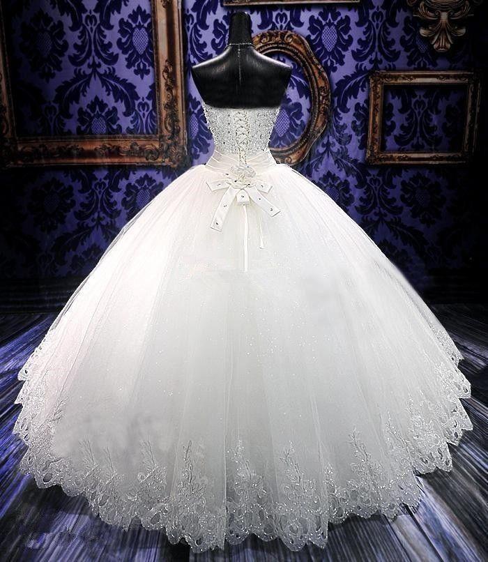 Alta Qualidade Real Photoes Bling Bling Vestidos De Noiva De Cristal Voltar Bandage Apliques de Tule Até O Chão vestido de Baile Vestidos De Casamento