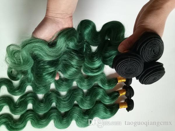 European Brazilian virgin hair weft High-end ladies popular for Birthday, party, travel ombre Two Tone 1B/green Indian remy Hair 3 4