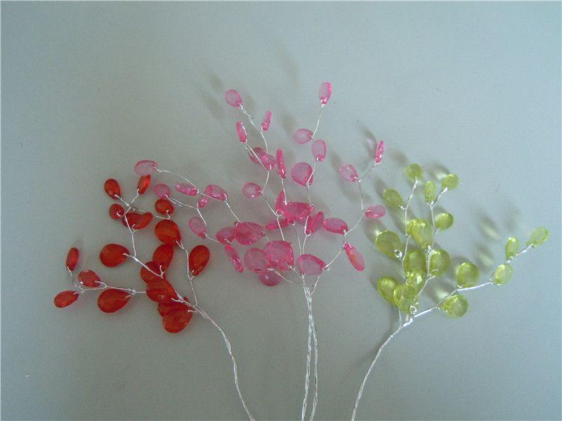 50 bunches 우아한 bombonieres 결혼식 호의 -TEARDROP 보석 크리스탈 선택 꽃 스프레이, 화이트 핑크 PURPLE 붉은 청록색 녹색 크리스탈 garland