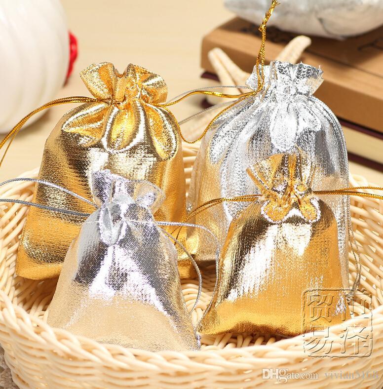 Gold Silver glitter Velvet Drawstring Pouch Bag Christmas Wedding Candy bag gift bag Jewelry Pouch 4Size 5x7cm 7X9cm 9x12cm 13x18cm