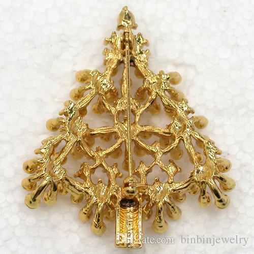 Commercio all'ingrosso C2018 Peridot Rhinestone di cristallo placcato oro albero di natale spilla pin regalo di Natale spille gioielli