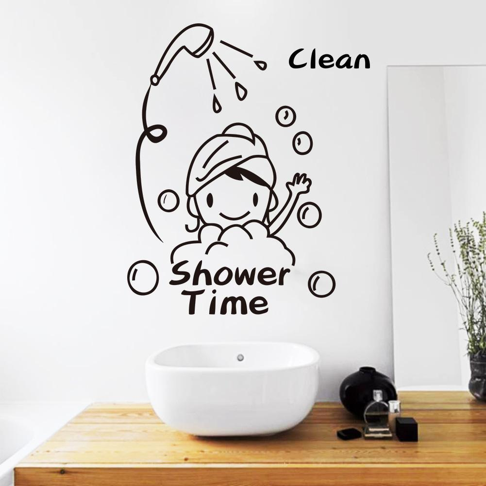 Attractive Shower Time Bathroom Wall Decor Stickers Lovely Child Removable Vinyl  Waterproof Wall Art Decal Removable Decals For Walls Removable Kids Wall  Decals From ...