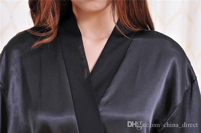 2017 damen damen Solide plain Satin rayon Robe Pyjama Dessous Nachtwäsche Kimono Kleid pjs # 3726