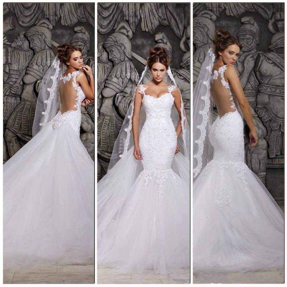 Berta Bridal Sexy Luxury Backless Lace Sheer Tulle Mermaid Wedding Dresses Covered Button Spaghetti Straps Winter Glitz Bridal Gown BO4801