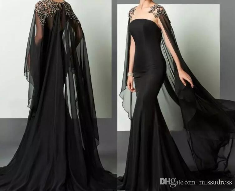 Black Mermaid Evening Dresses Elie Saab Dresses Evening Wear Beaded Chiffon With Cape African Arabic Formal Gown Pageant Dress Runway