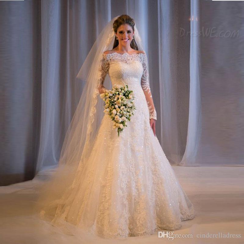 2017 Plus Size Vintage Lace Wedding Dresses Off Shoulder Long