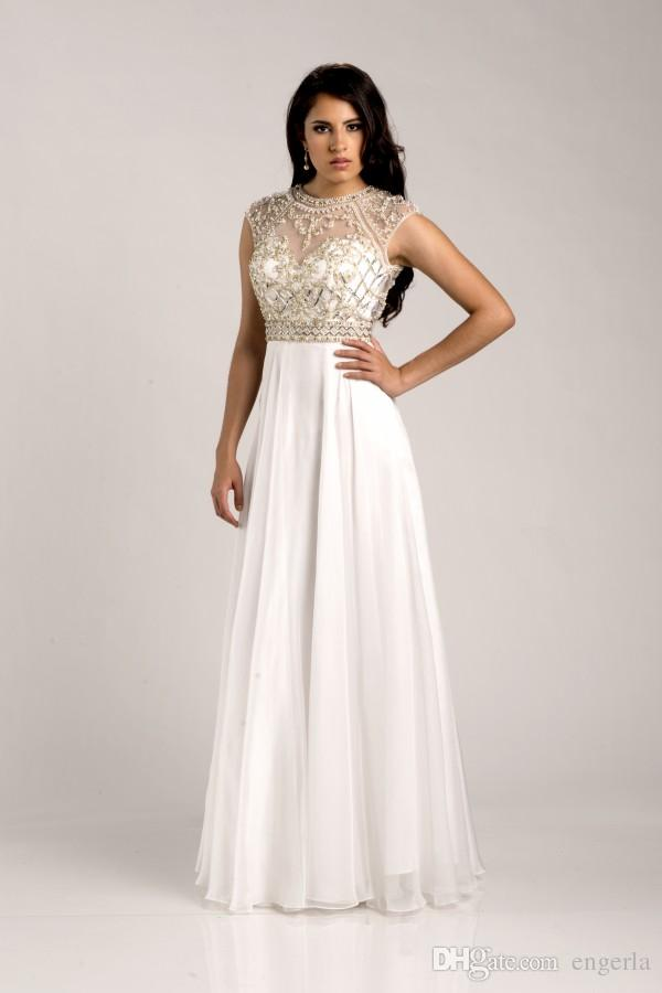 White Stunning Prom Dresses 2015 Jewel Neck With Beaded Crystal ...