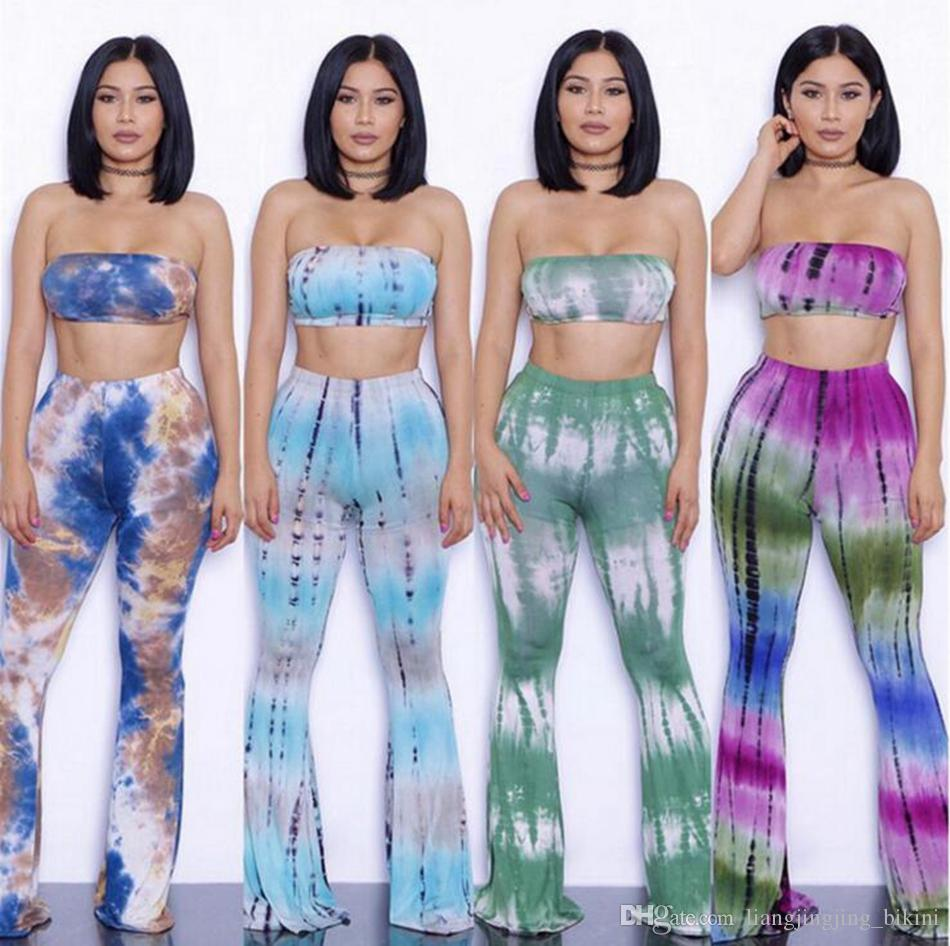 1d5c0243218d5 2019 Bell Bottom Trousers Bra Sets Women Tie Dye Flare Pants Camis Sexy Palazzo  Wide Leg Pants Vest Long Stretch Boho Hippie Pants OOA3367 From ...