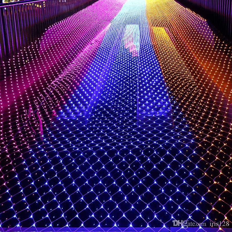 led net string lights christmas outdoor waterproof net mesh fairy light 2m3m 4m6m wedding party light with 8 function controller led battery string lights