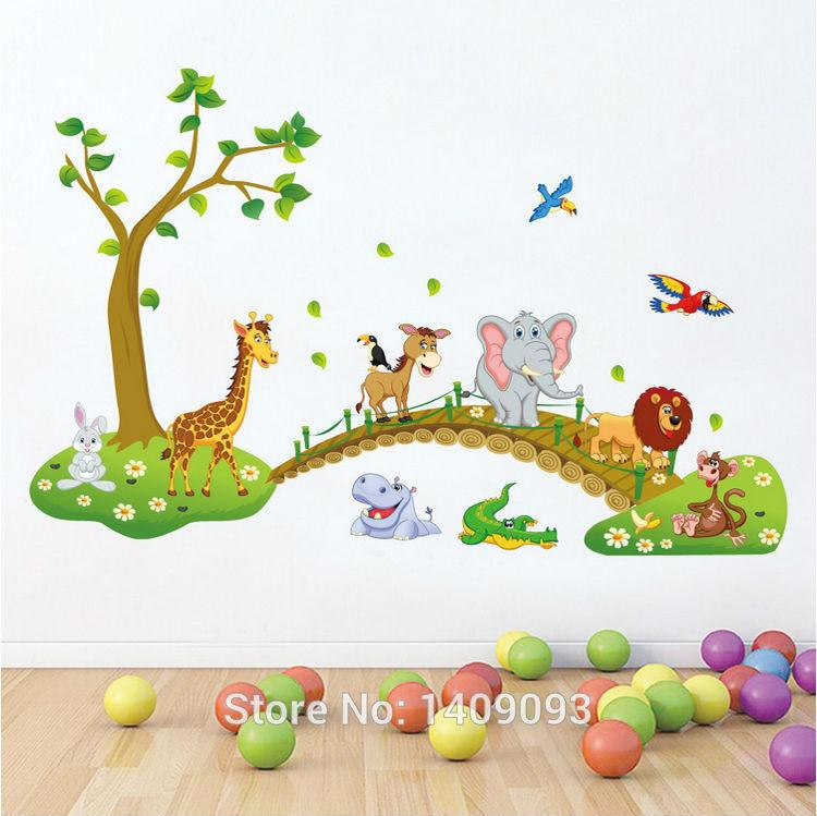 diy children baby wall sticker new design cartoon bridge animal tree