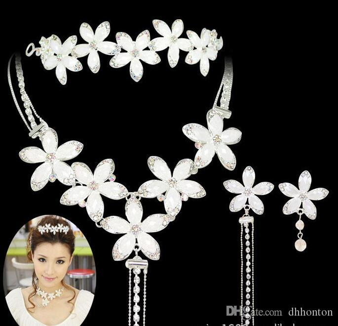 Bridal Jewelry sets wedding accessories chain crown three suits wedding tiara bridal necklace set necklace Beautiful Hair Accessories HT02