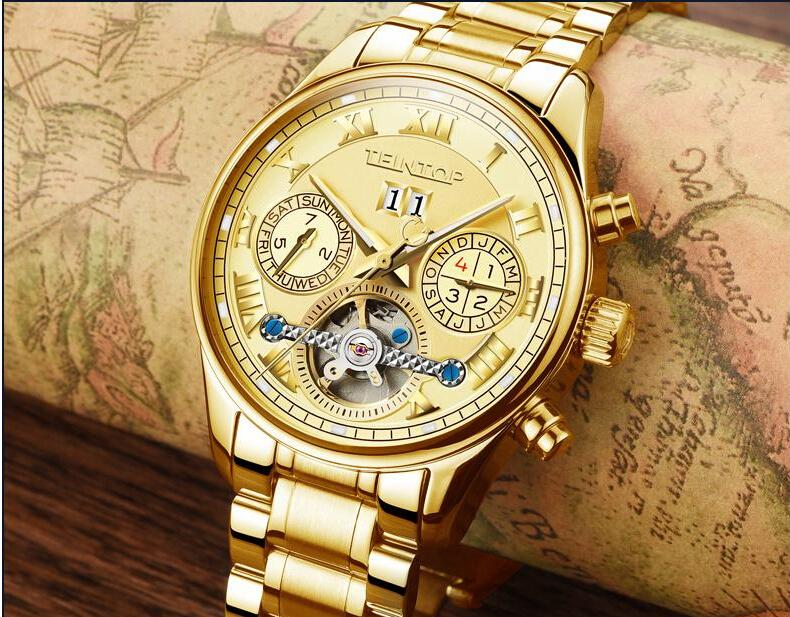 Usa Style Automatic Mechanical Gold Watch For Men New Day Week Month Steel Clock Charm Luxury Mens Designer Gift Wrist Watches Name Brand