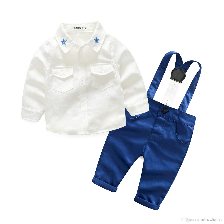 3452c6702d39b Acheter Enfant En Bas Âge Garçon Broderie Étoiles Chemises Avec Des  Combinaisons En Coton Bébé Garçon Vêtements Mode Printemps Ensembles  Gentleman Tenues De ...