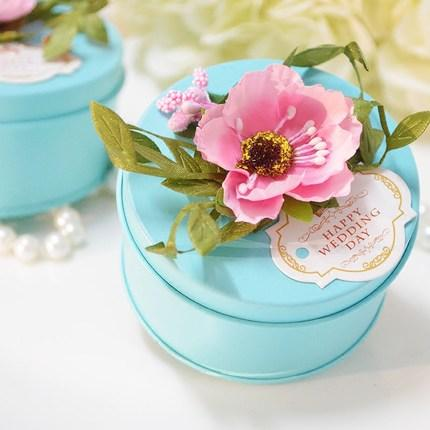 New fasion wedding favor boxes round shaped blue with big paper new fasion wedding favor boxes round shaped blue with big paper flowers on topper decorations metal candy box party favors wedding favor boxes tiffane blue mightylinksfo